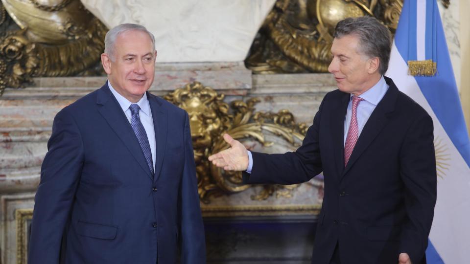 El premier israelí, Benjamin Netanyahu, y el presidente Mauricio Macri.