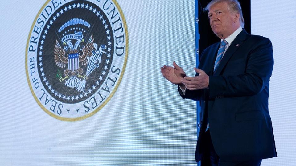 Trump en su discurso ante el insólito discurso.