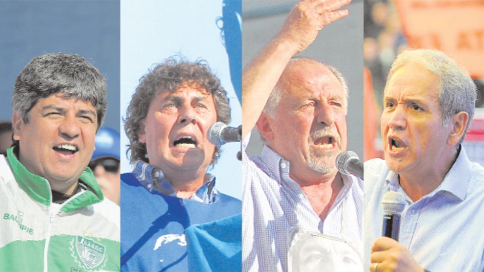 Sergio Palazzo, Pablo Moyano y otros dirigentes que participaron ayer del plenario de la Corriente Federal.
