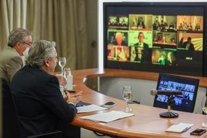 El presidente Alberto Fernández en la reunión virtual con sus colegas del Mercosur. (Fuente: Presidencia)