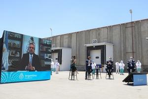 El Presidente en el evento donde un frigorífico exportador anunció inversiones por 187 millones de dólares.