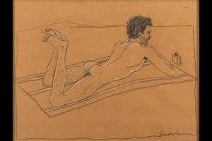 Pablo Suárez, Desnudo II, Carbonilla sobre papel, 2000