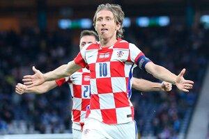 Modric festeja su gol para Croacia (Fuente: AFP)