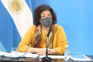 """La ministra de Salud, Carla Vizzotti, destacó que la semana pasada fue """"la séptima consecutiva en que bajaron los casos"""" de coronavirus. (Fuente: NA)"""