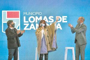 Cristina Kirchner, Axel Kicillof y Martín Insaurralde en Lomas de Zamora. (Fuente: Télam)