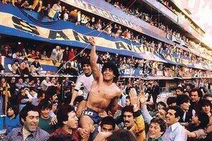 Maradona es llevado en andas la tarde de la consagración