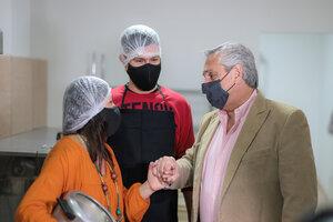 El Presidente junto a la emprendedora Laura Silva. (Fuente: Presidencia de la Nación)