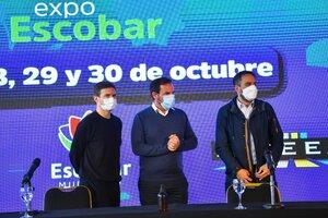 Augusto Costa, Ariel Sujarchuk y Juan Cabandie en la presentaación de Expo Escobar