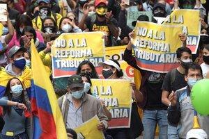 La reforma tributaria de Duque provocó protestas en todo Colombia en abril. (Fuente: AFP)
