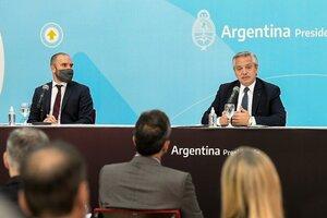Ministro de Economía Martín Guzmán y presidente Alberto Fernández. (Fuente: NA)
