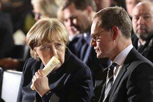 Merkel y Michael Meuller, alcalde de Berlín (Fuente: AFP)