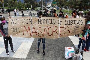 Protesta contra las masacres en Bogotá. (Fuente: EFE)