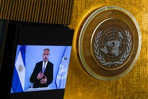 """El presidente Alberto Fernández en su discurso en la ONU señaló el proceso de endeudamiento """"tóxico e irresponsable"""" con el FMI."""