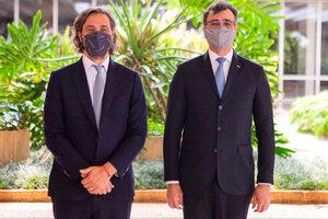 Santiago Cafiero junto a Carlos França, en Brasilia. (Fuente: Cancillería)