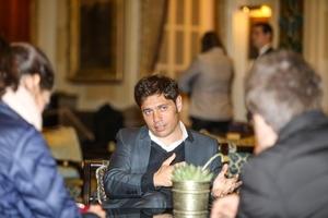 Axel Kicillof habló en el lobby del hotel King David, en Jerusalén.
