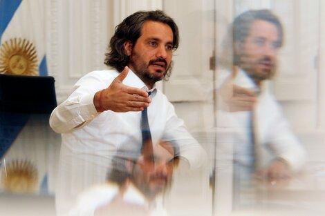 """Santiago Cafiero aseguró a PáginaI12 que los errores de comunicación del Presidente están magnificados y que la realidad está """"en los vacunatorios y en las fábricas"""". (Fuente: Leandro Teysseire)"""