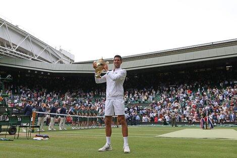 Novak Djokovic y una imagen repetida: el césped de Wimbledon y el trofeo en sus manos (Fuente: AFP)