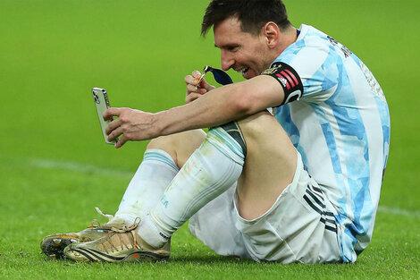 Una de las postales de este campeonato argentino fue la videollamada de Messi con su familia, ni bien terminó la final.