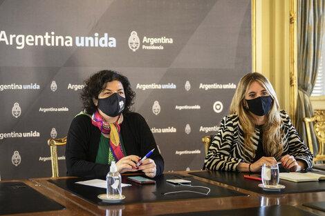 La ministra Carla Vizzotti y la asesora presidencial Cecilia Nicolini. (Fuente: Presidencia)