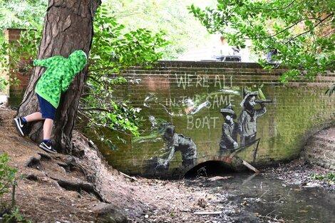 El dibujo pintado sobre una pared del parque Nicholas Everitt,en la localidad de Suffolk. (Fuente: AFP)