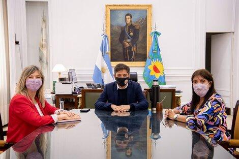 El gobernador de Buenos Aires, Axel Kicillof, mantuvo una reunión con la ministra de Gobierno, Teresa García, y con quien será su reemplazante, Cristina Álvarez Rodríguez.