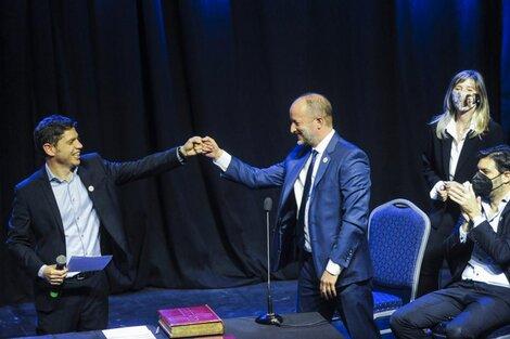 Kicillof junto a su nuevo jefe de Gabinete, Martín Insaurralde. (Fuente: Télam)