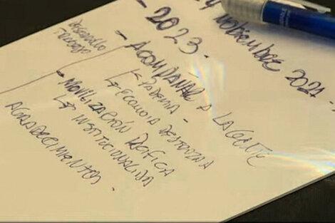 Las anotaciones del evento de Juntos por el Cambio.