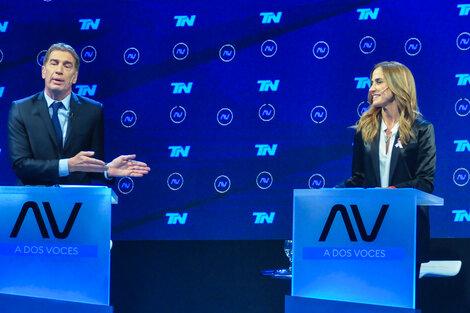 Diego Santilli y Victoria Tolosa Paz, en el debate televisivo de candidatos bonaerenses.