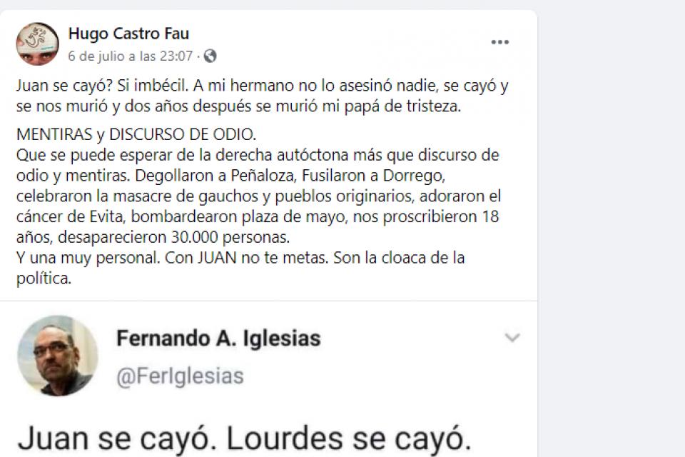 El hermano de Juan Castro cruzó a Fernando Iglesias