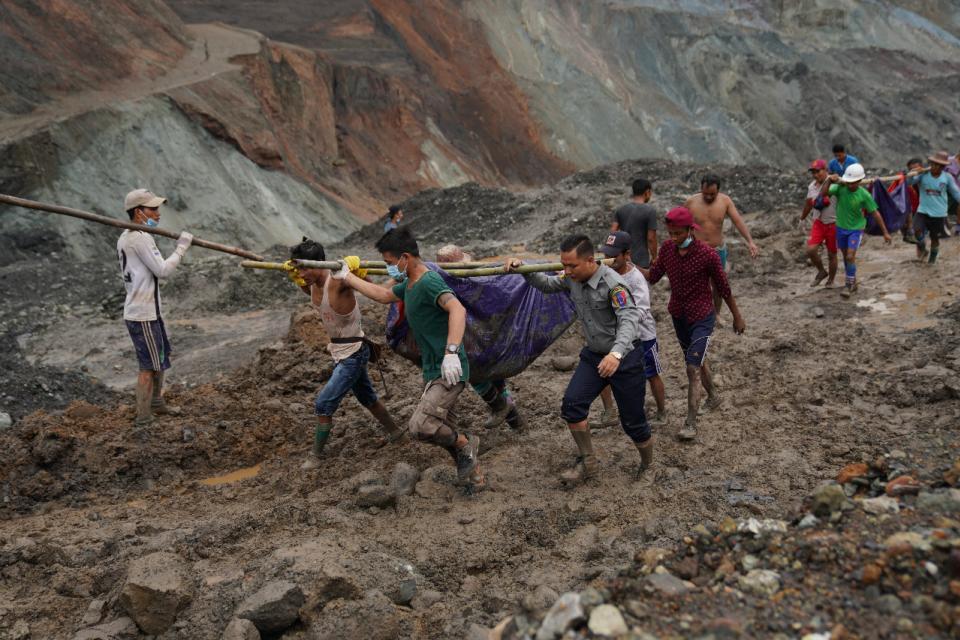 Trágica avalancha de barro en una mina en Myanmar