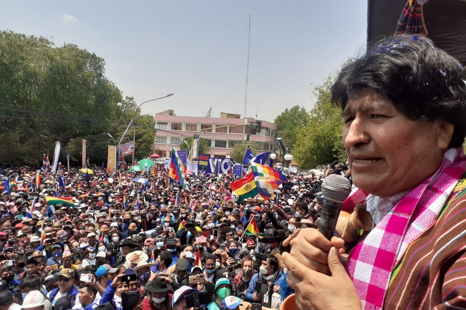 Evo Morales during his return from exile speech