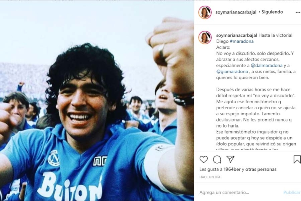 Mensaje de adiós a Maradona de la periodista Mariana Carbajal