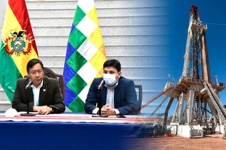 Arce (centr.) junto al ministro Molina.
