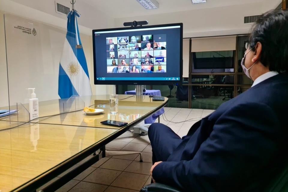 Claudio Moroni, ministro de Trabajo, durante la sesión virtual del Consejo.