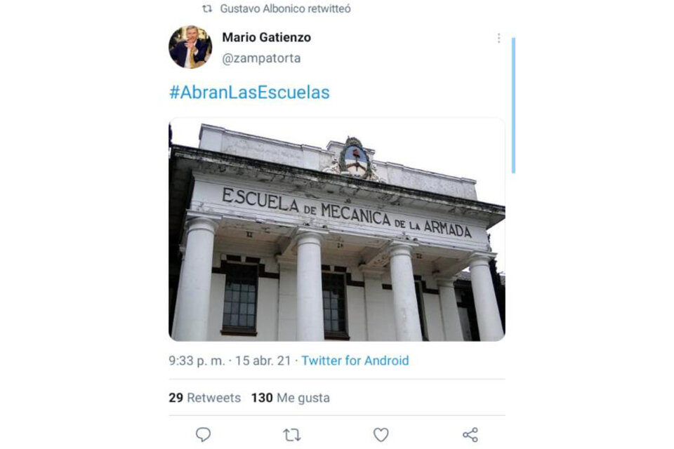 Un retuit de Gustavo Albonico.