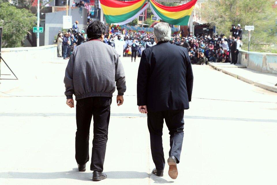 Evo Morales regresó a su país acompañado por Alberto Fernández. (Fuente: Télam)