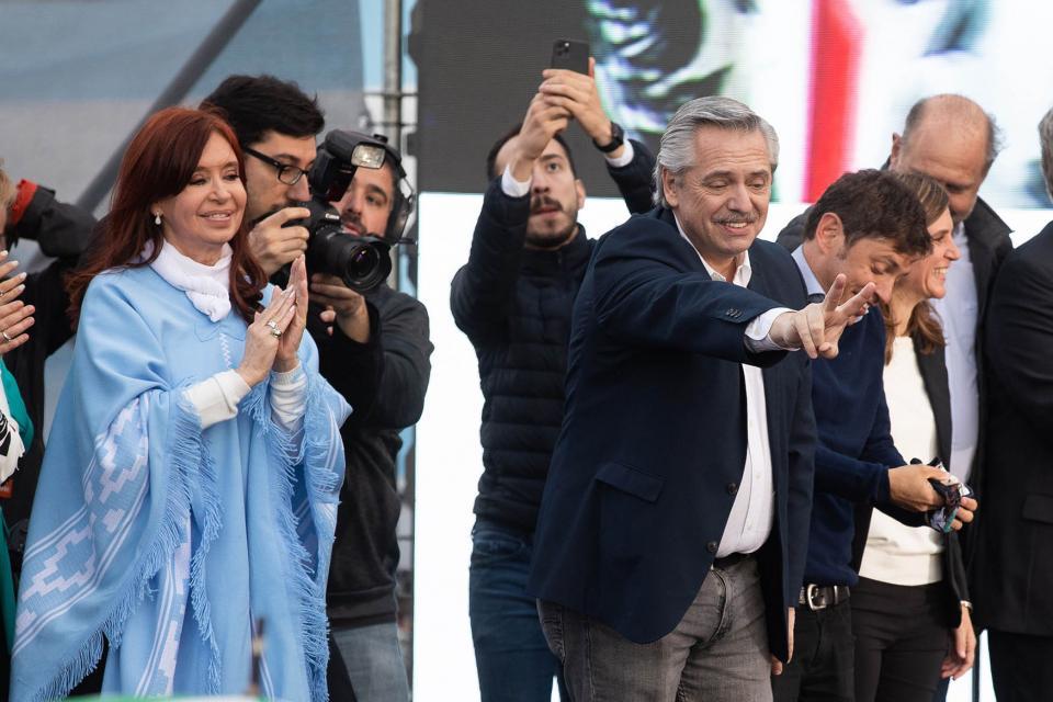 Alberto Fernández y Cristina Kirchner en el cierre del Frente de Todos.