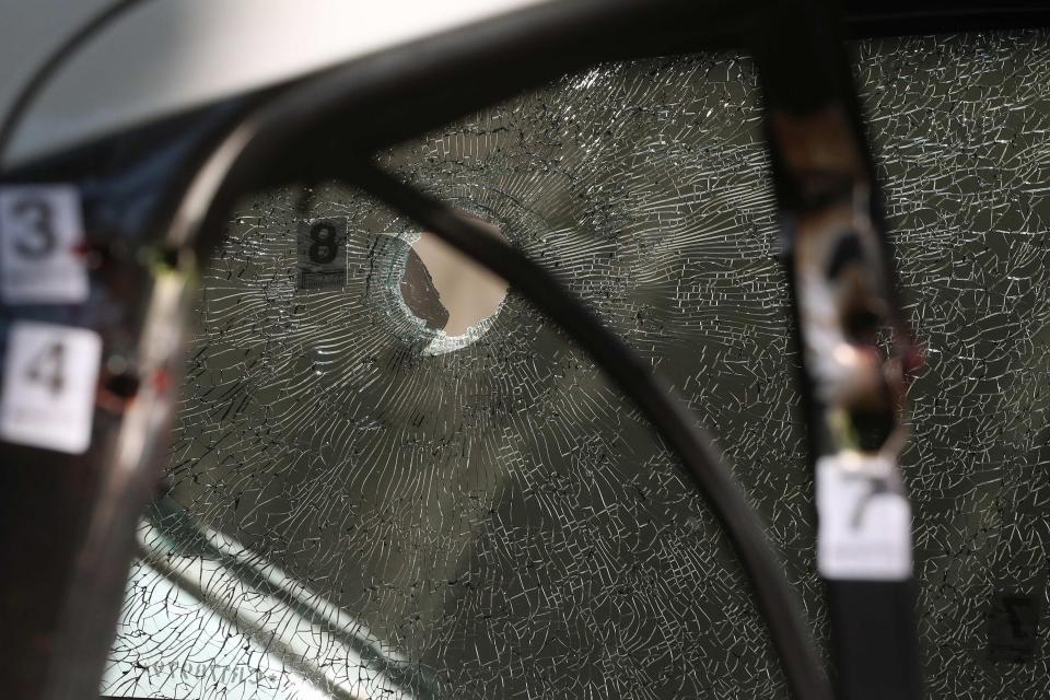 El auto acribillado en el que viajaba Marielle Franco cuando fue asesinada.