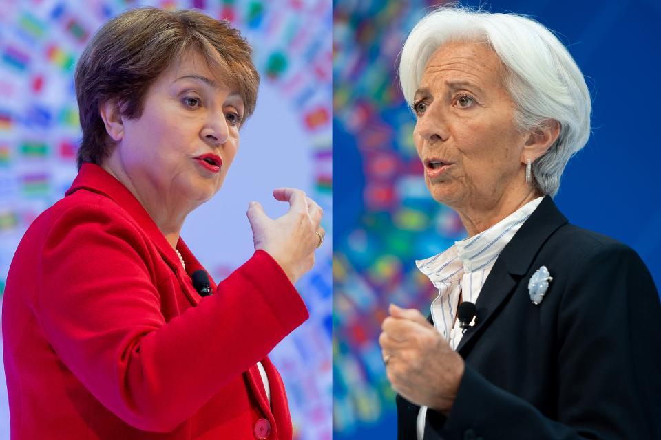 La actual directora del FMI Kirstalina Georgieva y su antecesora Christine Lagarde.