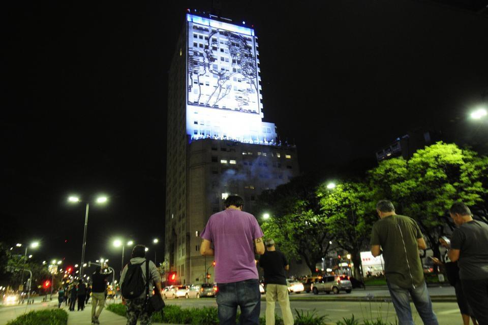 La figura de Eva Perón ya había sido ilumnada en la noche del 27 de octubre, tras la victoria de Alberto Fernández.