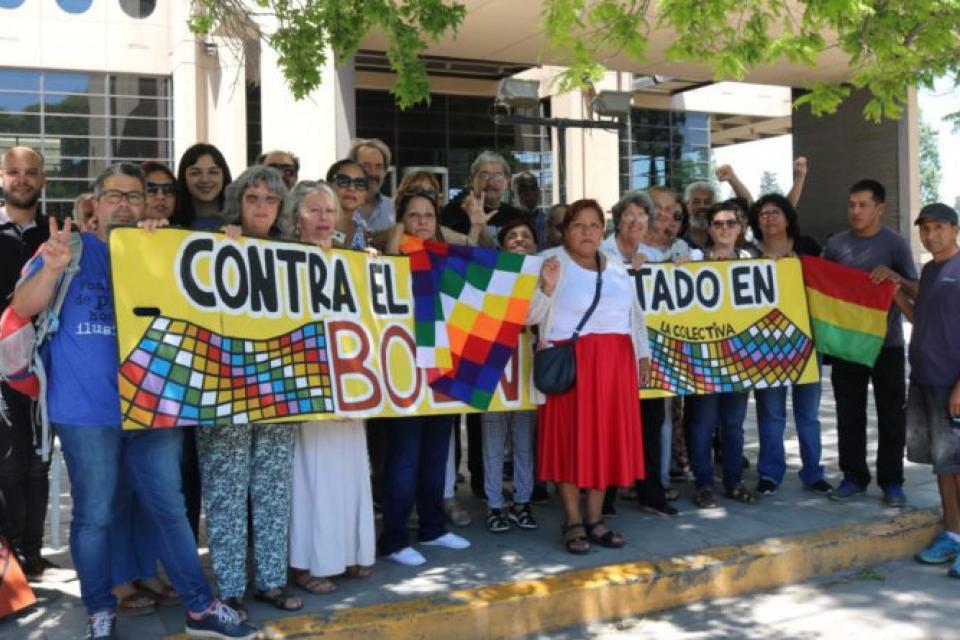 Representantes del Comité de Solidaridad con los Pueblos Latinoamericanos.