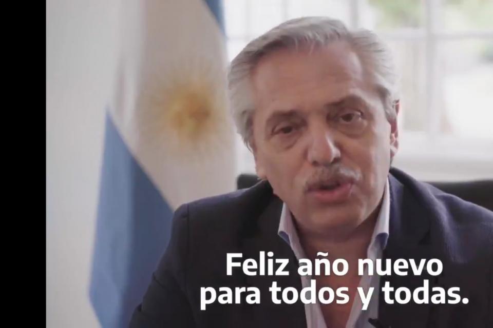 Mensaje de año nuevo de Alberto Fernández.