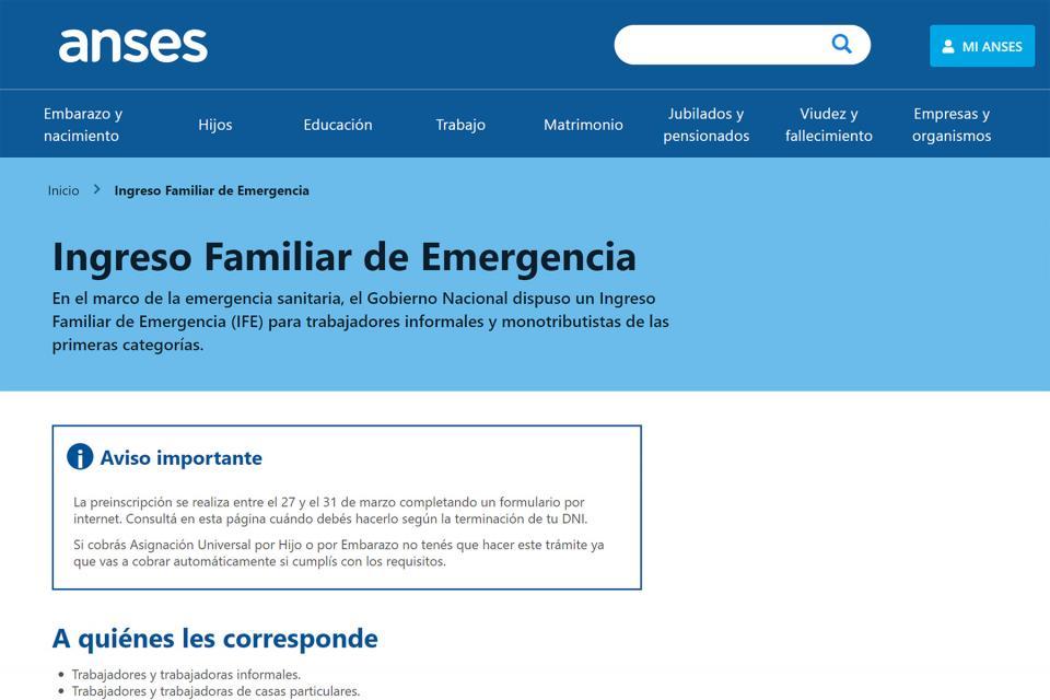 Desde este sábado podrán ingrarse en la web de la ANSES los datos bancarios para cobrar los 10.000 pesos del Ingreso Familiar de Emergencia.